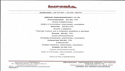 Restauracja IMPERIA zaprasza na smakowite obiady i inne usługi gastronomiczne!