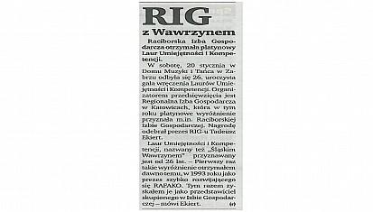 Platynowy Laur Kompetencji dla RIG